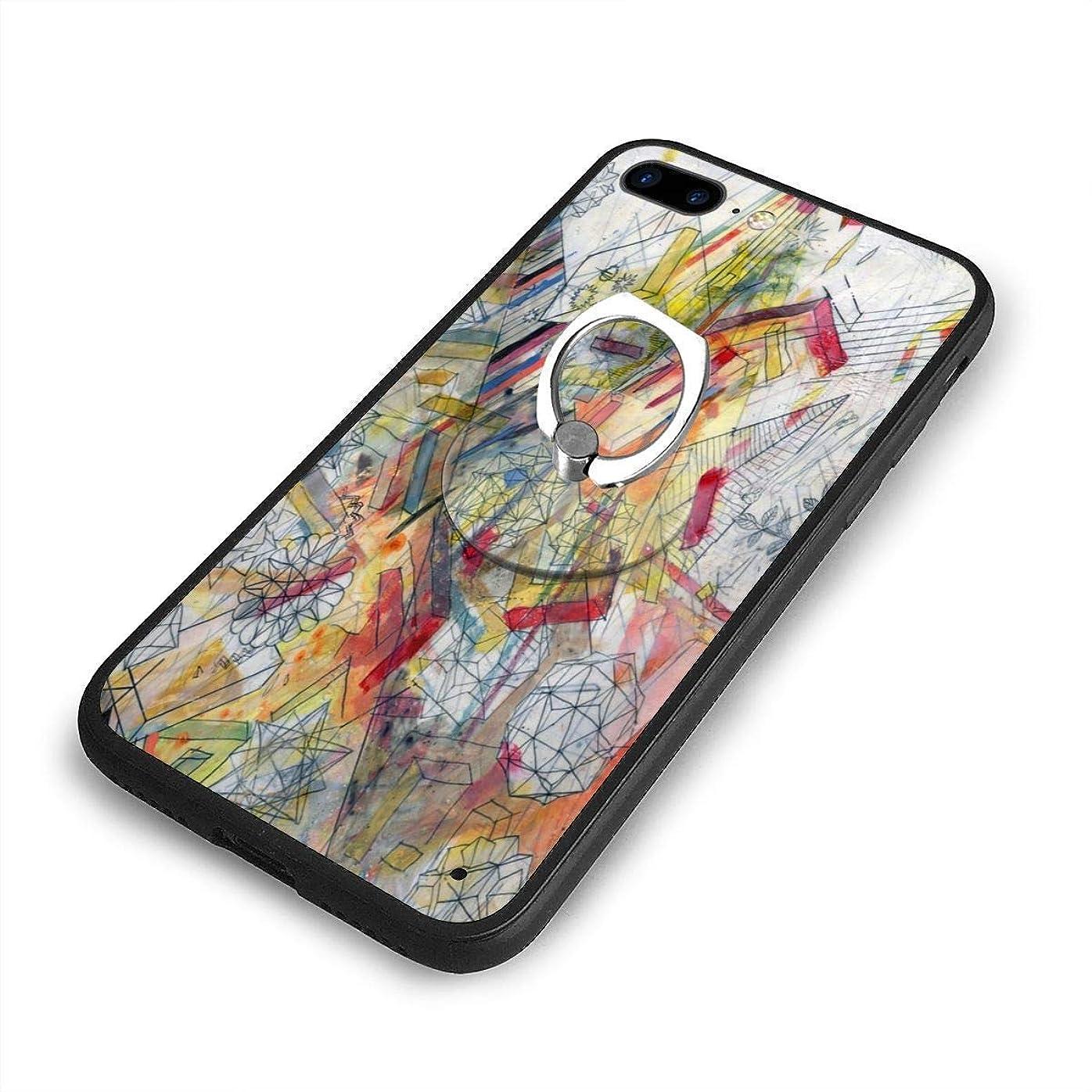 論理的にうまサポート絵画iPhone 7/8 Plusケースリングブラケット 携帯カバー 創意デザイン軽量 傷つけ防止 360°回転ブラケット 携帯ケース PC 衝撃防止 全面保護