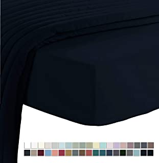 Pizuna Soft 400 Thread Count Cotton Queen Fitted Sheets Black 1pc, 100% Long Staple Cotton Fitted Sheet, Soft Sateen Bed Fitted Sheets fits Upto 15 inch (Black 100% Cotton Deep Fitted Sheet Queen)