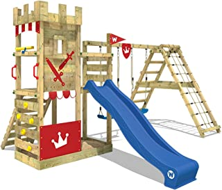 WICKEY Parque infantil Smart Crown Torre juegos con tobogán y columpios, plataforma de ampliación, plataforma y cajón de arena grande, tobogán azul + lona rojo