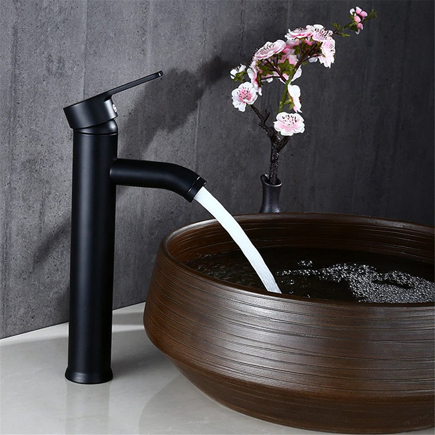 SADASD Contemporary Bathroom Full Copper Basin Faucet Black Paint 304 Stainless Steel Single Basin Sink Mixer Tap Ceramic Spool Single Hole Single Handle Cold Water With G1 2 Hose