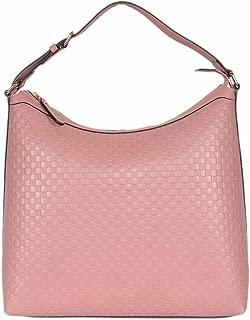 Gucci Women's Micro GG Guccissima Leather Hobo Handbag (449732/Soft Pink)