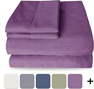 Mejoroom Luxury Bamboo Bed Sheet Set - Hypoallergenic Bedding Blend from Natural Bamboo Fiber - Deep Pocket,Ultra Silky Soft, Eco-Friendly - 4 Piece(Queen,Purple)