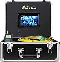 Plumbing Sewer Inspection Camera 100ft,Anysun Drain Snake Pipe Pipeline Inspection Cameras 30m Cable with DVR Record Video System Waterproof Ip68 and 7 Inch LCD Monitor( Include 8GB SD Card)