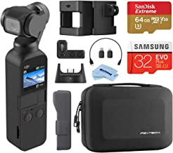 $449 » DJI Osmo Pocket Handheld 3 Axis Gimbal Stabilizer with Integrated Camera, Attachable to Smartphone, Android (USB-C), iPhone with Osmo Pocket Expansion Kit + 64GB SD Card + Case + Cleaning Cloth
