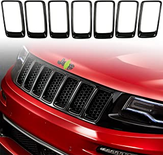XBEEK 7PC Black Grill Ring Gloss Black Front Grille Inserts Cover Trim Kit for 2014-2016 Jeep Grand Cherokee