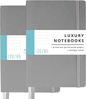 2 Pack Luxury Notebook Journal - 130 Perforated Pages - Thick Paper (120 gsm) - Lay Flat Design - 2 Bookmarks - Elastic Closure - Back Pocket, Set of 2, Softcover, Steel Gray (College Ruled)