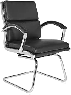 Office Star Faux Leather Visitors Chair with Padded Arms and Chrome Base, Black