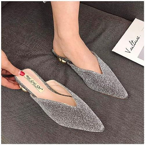 ZHAOXIANGXIANG Mode De Les Les Les dames Nouveau Semi Chaussons Baotou Talons Rugueux Chaussures Faible Usure