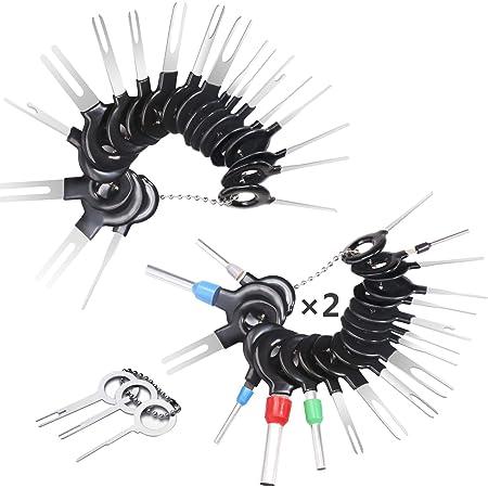 59 Pcs Kfz Kabel Stecker Ausbau Werkzeug Terminal Steckverbindung Demontage Pin Extractor Tool Entriegelungswerkzeug Für Flach Und Rundsteckkontakte Baumarkt