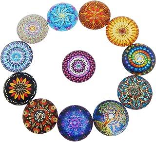 JJG 60 PCS Bohemian Psychedelic Mandala Glass Dome Cabochons Half Round Flatback, 12mm Diameter, Random Color