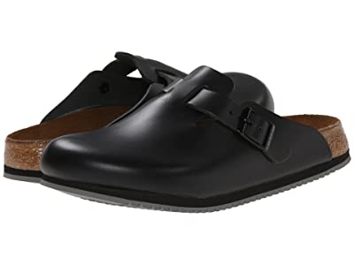 Birkenstock Boston Super Grip (Black Leather) Shoes