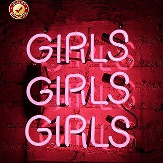 Neon Signs Girls Girls Girls Beer Bar Neon Light Pink Handmade Glass Neon Lights Sign for Bedroom Office Pub Hotel Recreat...