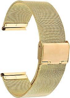 TRUMiRR 18mm Watch Band Mesh en Acier Inoxydable Métal Bracelet pour Huawei Watch, ASUS ZenWatch 2 WI502Q des Femmes, With...