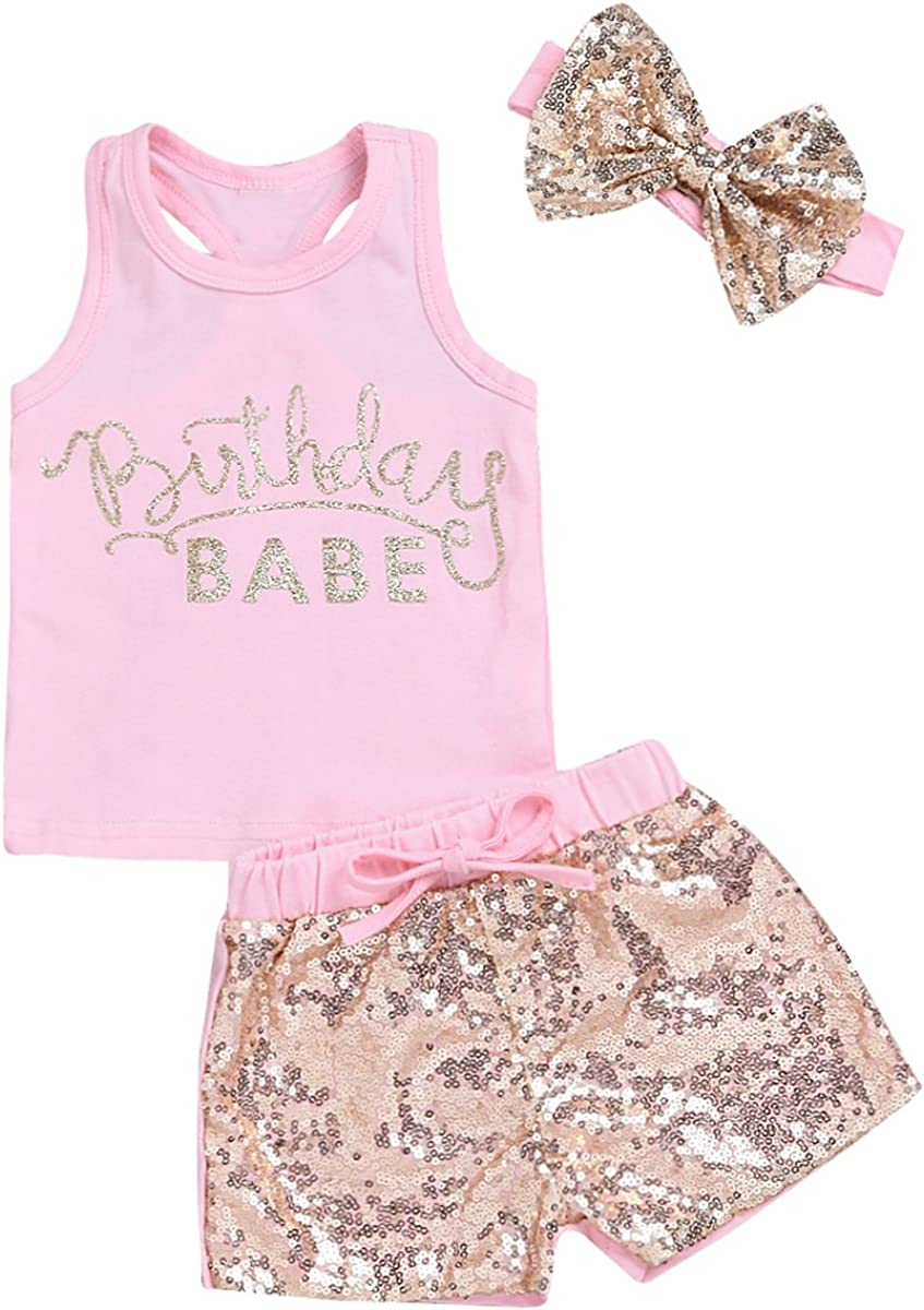 puseky Baby Girls Letters Shirt+Sequin Shorts+Bow Hea 55% OFF New products, world's highest quality popular! Sleeveless