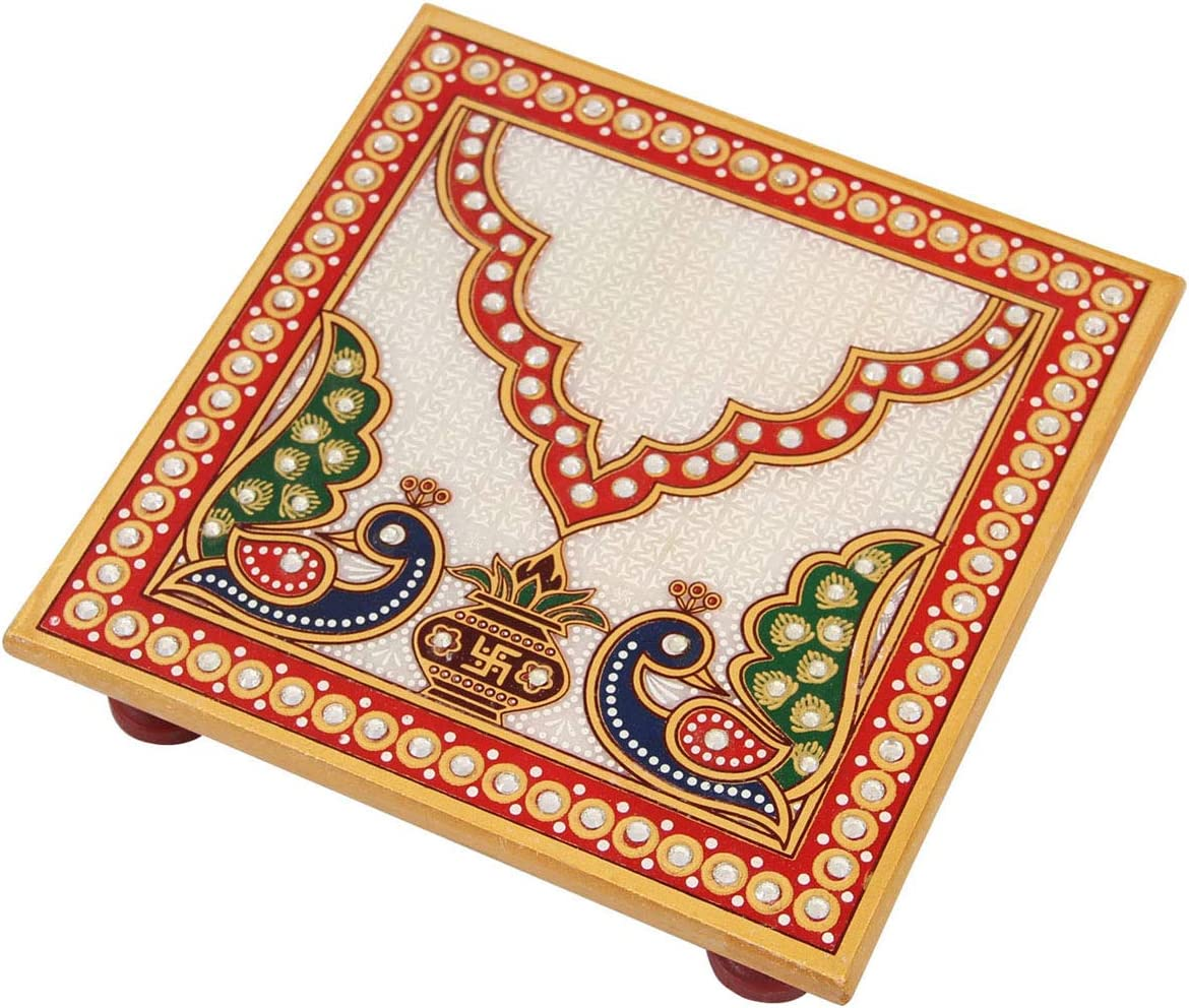 Handicrafts Paradise Puja Chowki Sale price Square Kal Raleigh Mall with in Marble Shape