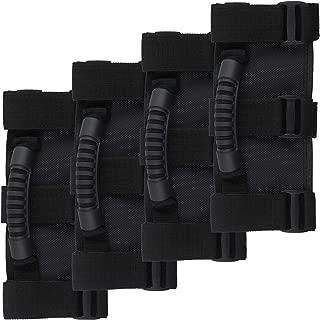 4 pcs Roll Bar Grab Handle Set for Jeep Wrangler YJ TJ JK JKU JL JLU Sports Sahara Freedom Rubicon X & Unlimited 1955-2018, Jeep Wrangler Accessories - Black