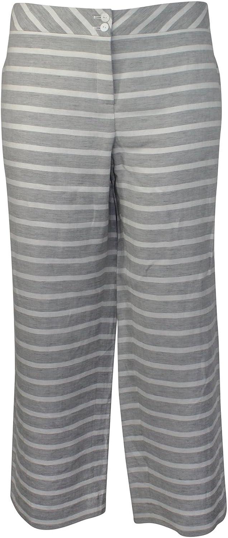 Evelin Brandt Berlin Womens Striped Linen Pant Plus Size Grey 44,46,48,50