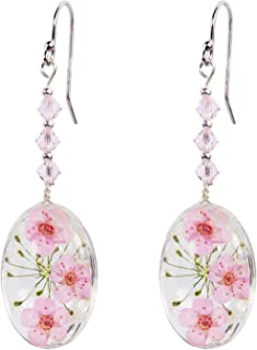CewanCe valentines day present Pressed Flower Cherry Blossom Drop Earrings With Swarovski Elements crystals