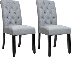 JUMMICO Dining Chair Fabric Tufted Upholstered Design Armless Chair with Solid Wood Legs Tall Back Set of 2 (Grey)