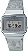 ساعة ستانلس ستيل مربعة رقمية للرجال من كاسيو A700WM-7ADF - فضي