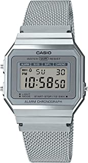 Casio A700WM-7ADF Stainless Steel Mesh Square Digital Watch for Men - Silver
