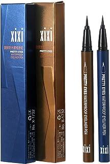 Vtrem 2 Pack Eyeliner Pencil Navy Blue / Light Brown Waterproof Liquid Eye Liner Pen Smudge Proof Slim Eyeliner Makeup Too...