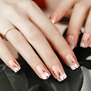 ArtPlus Preglued 24pcs Stilleto Red False Nails French Manicure Long with Upgraded Super Adhesive Tabs Press on and Glue Fake Nails Kit