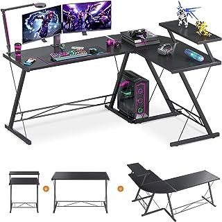 """61"""" Super Large L Shaped Desk Gaming Desk L Desk Computer Corner Desk with Round Corner with Monitor Stand for Gaming Desk Home Office Writing Workstation, Black"""