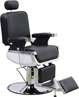 BarberPub Heavy Duty Vintage Barber Chair All Purpose Hydraulic Reclining Antique Salon Equipment for Barbershop Stylist 8740