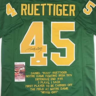 Autographed/Signed Rudy Ruettiger Notre Dame Green Stat College Football Jersey JSA COA