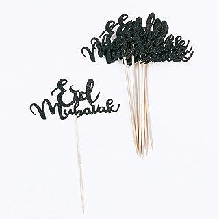Eid Mubarak Cake Topper, Ramadan Mubarak Cake Decorations, Happy Eid Party Decor, Eid Festival Party Sign (Black)