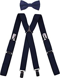 BODY STRENTH Boys' Men's Suspenders and Bow Tie Set X Shape Elastic