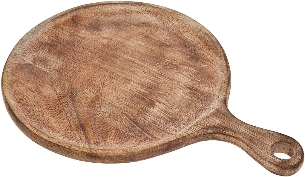 Round Wood Chopping Cutting Board with Handle Kitchen for Fruits Vegetables Meat by Godinger