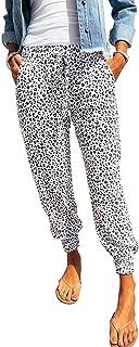 Bienwwow Pantaloni da donna con coulisse leopardato pantaloni della tuta casual yoga Jogger pantaloni