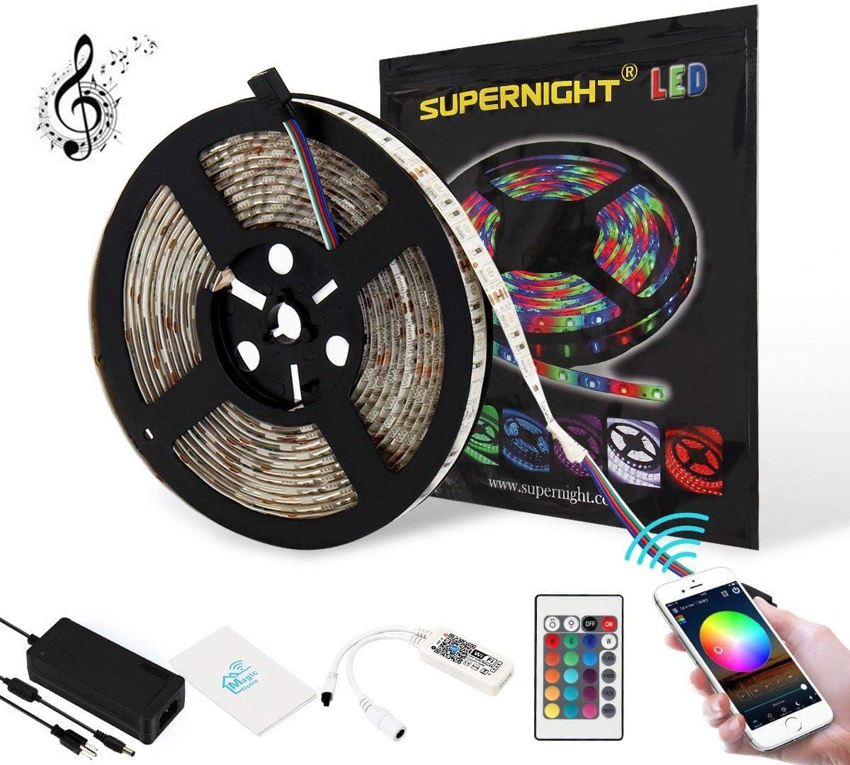 SUPERNIGHT 5050 RGB LED Light Strip Kit Philadelphia Mall Con WiFi with Waterproof Ranking TOP8