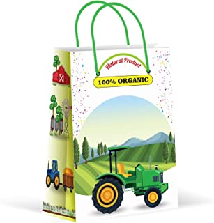 Premium Green Tractor Party Bags, Farm Party Favor Bags, New, Treat Bags, Gift Bags, Goody Bags, Party Favors, Party Supplies, Decorations, 12 Pack