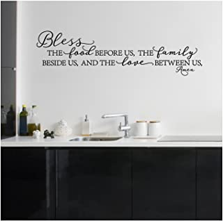 Bless The Food Before Us, The Family Beside Us, and The Love Between Us, Amen Vinyl Lettering Wall Decal (Style B 10