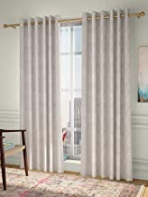 Curtain Label Set of 2- Curtain Label Provencia Jacquard Eyelet Pleat Curtain (Cream, 4.5 X 9 feet (W X H))