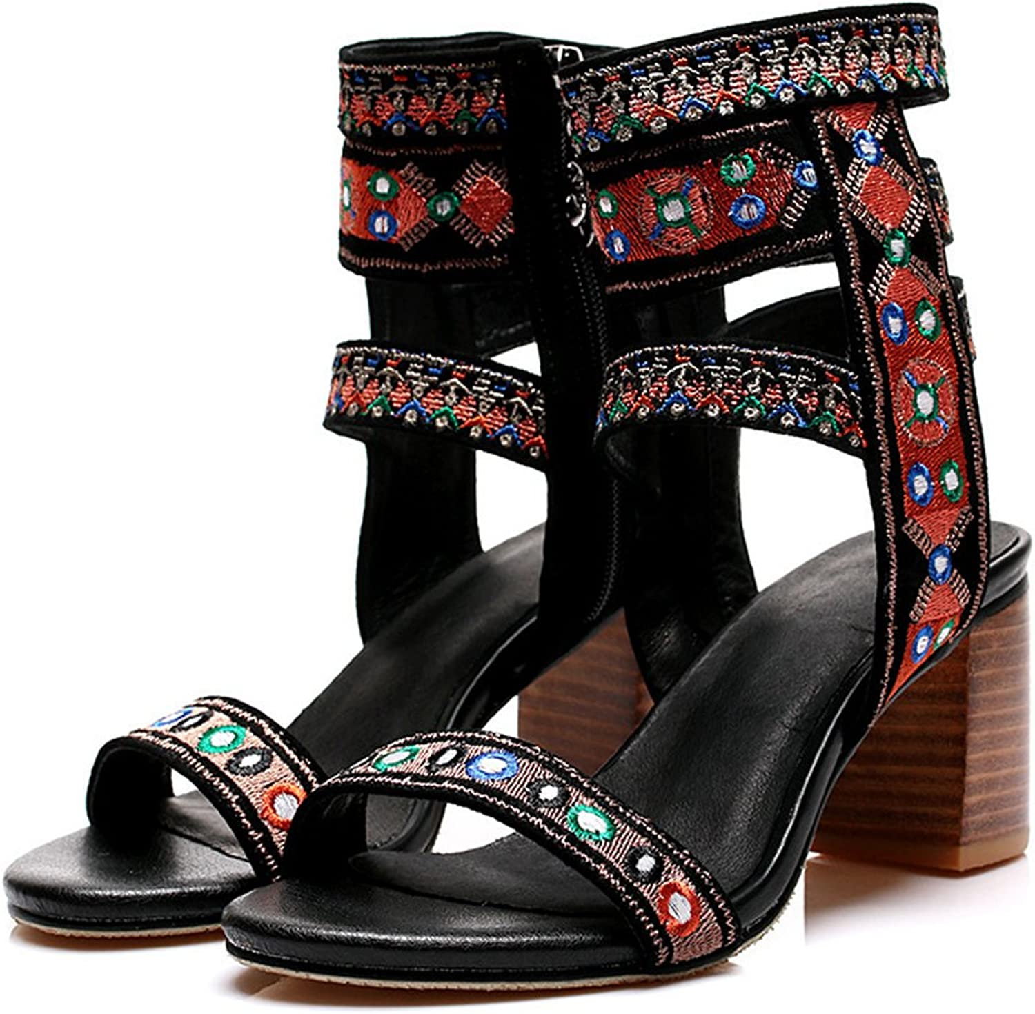 Btrada Roman Sandals for Women Fashion Embroidery Design Unique Style Wedge shoes Heeled Sandal