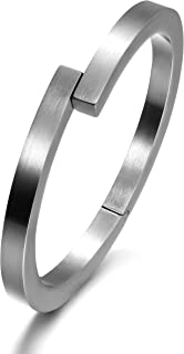 Wistic Black Bracelet with Stainless Steel Bangle Cuff and Magnetic-Clasp Plain Polished for Men Boy
