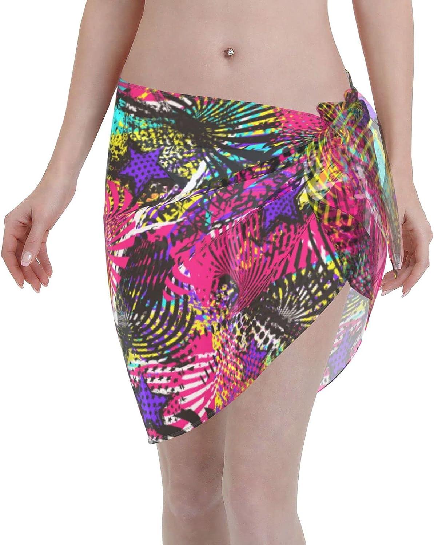 Abstract Urban Geometric Elements Women Short Sarongs Beach Wrap Sheer Bikini Wraps Chiffon Cover Ups for Swimwear