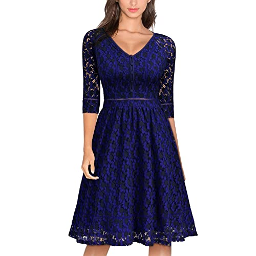 Miusol Womens Vintage V-Neck Floral Lace Bridesmaid Party Dress
