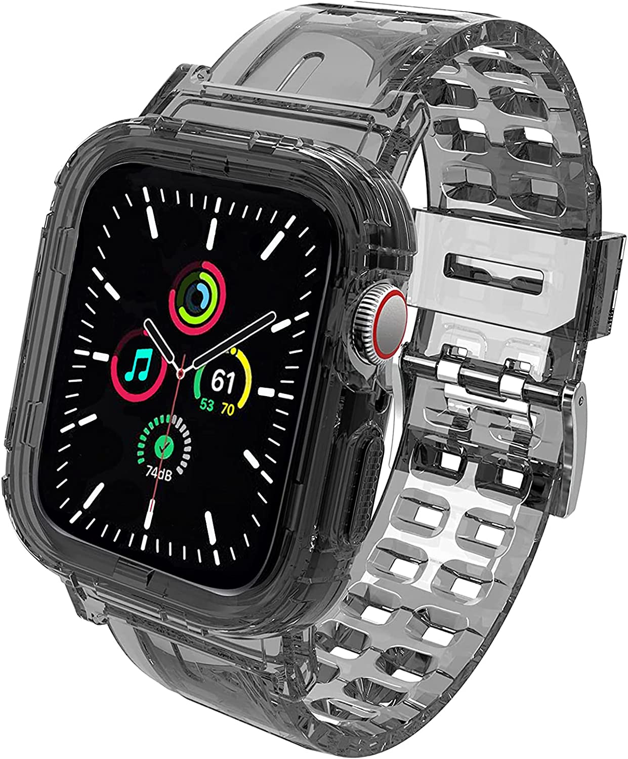 Compatible for Apple Watch Band 44mm 42mm with Protective Case, Men Women Crystal Clear Sporty Protective Drop-Proof Shockproof Case with Premium Soft Fadeless TPU Adjustable Strap Bands for iWatch Series 6/5/4/3/2