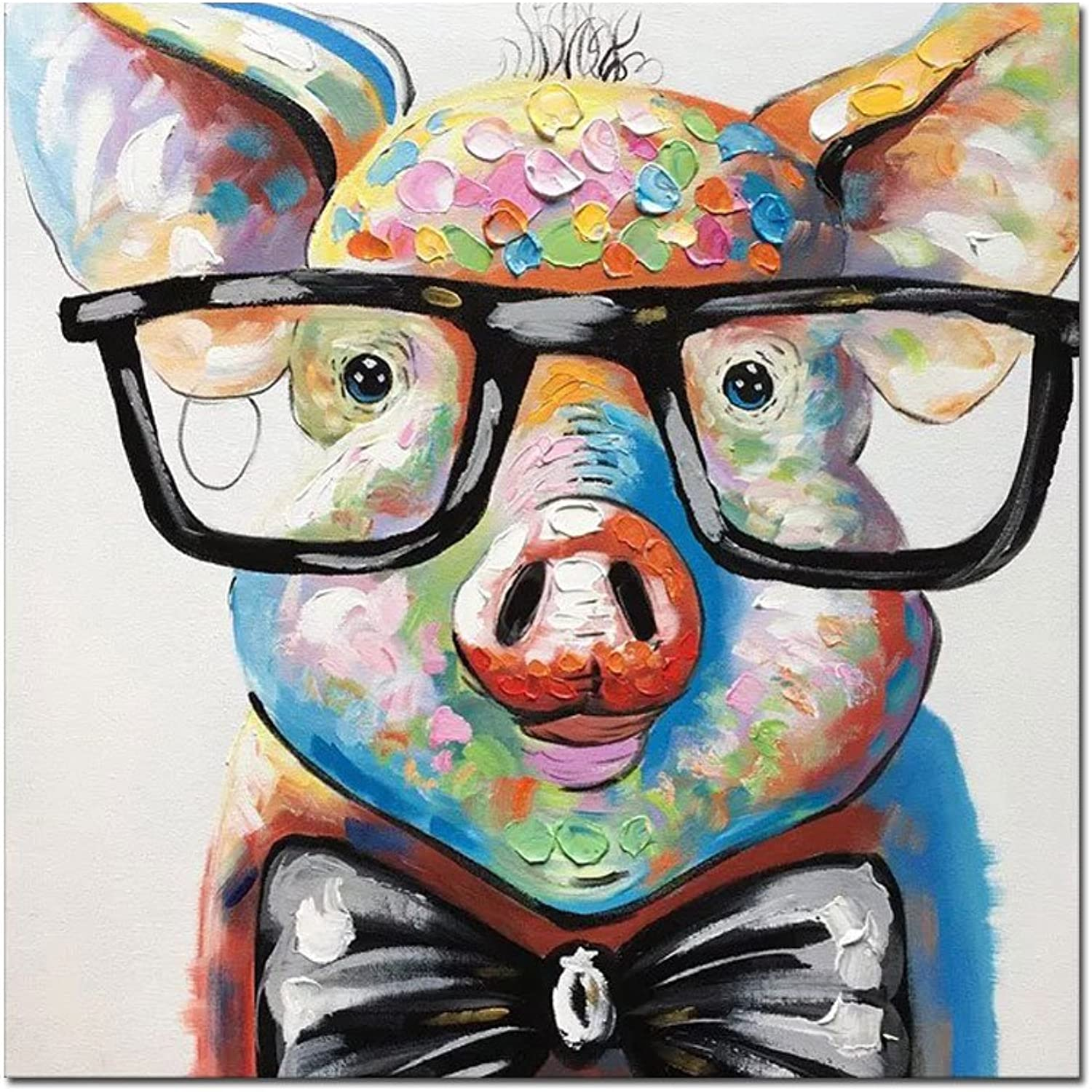 V-inspire Art,24x24 Inch colorful Animal Painting Cute Pig with Glasses Paintings for Living Room Hand Painted Paintings Stretched Ready to Hang