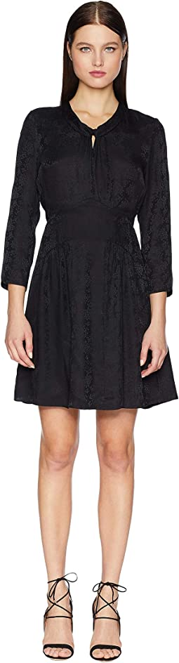 Long Sleeve Jacquard Silk Dress