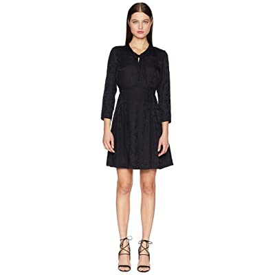 Rebecca Taylor Long Sleeve Jacquard Silk Dress (Black) Women