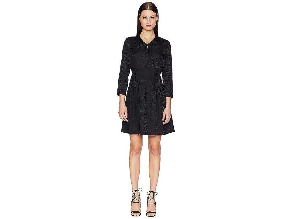 Rebecca Taylor Long Sleeve Jacquard Silk Dress (Black) Women