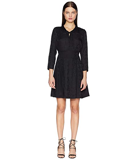 Rebecca Taylor Long Sleeve Jacquard Silk Dress