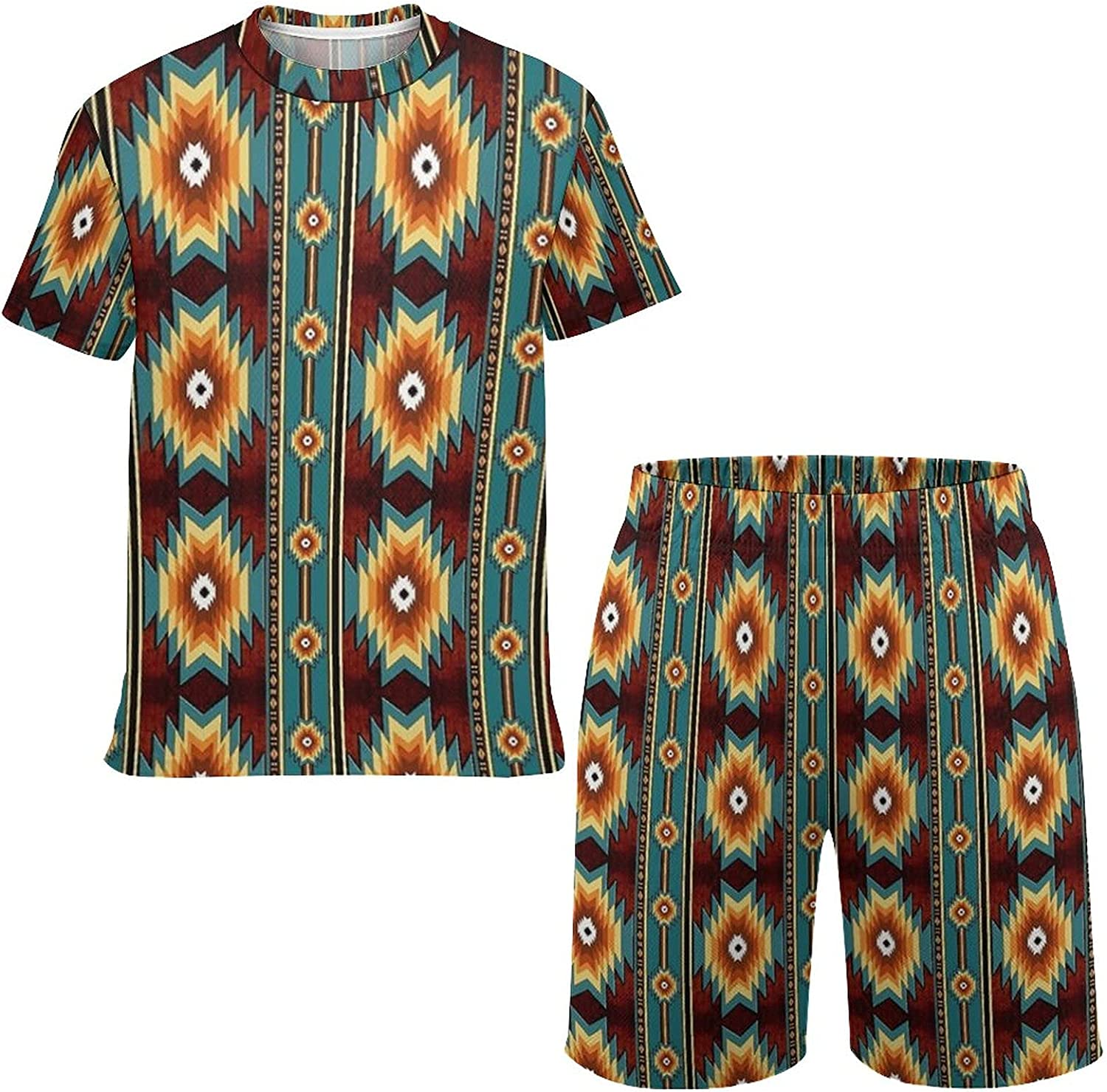 NiYoung Little Boys/Girls T-Shirt and Shorts Sets Ethnic Navajo Native American Southwestern Tracksuit Outfits Playwear Hoodies Housework Clothing