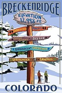 Breckenridge, Colorado - Ski Run Destinations Sign (12x18 Art Print, Wall Decor Travel Poster)